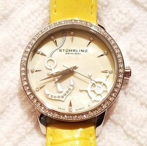 Stuhrling Original Crystal Bezel Watch Yellow Band